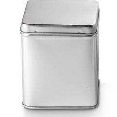 Theeblikje vierkant zilver met deksel